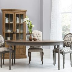 Round - Oval Extendable Dining Table with Natural Top - Dark Grey Base - Allissias Attic