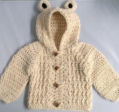 Crochet Baby Boy Sweater Bear Hood Baby Sweater by YarnForBaby, $45.00
