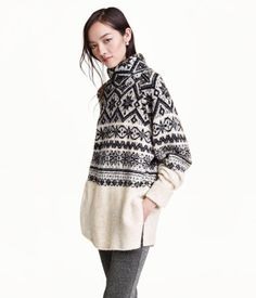 Soft, jacquard-knit sweater with wool content and glittery threads. Chunky turtleneck collar, long raglan sleeves with sewn cuffs, and slits at sides. | Warm in H&M