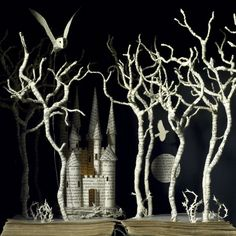 Su Blackwell's vision of Jorinde & Joringel - book cut sculpture