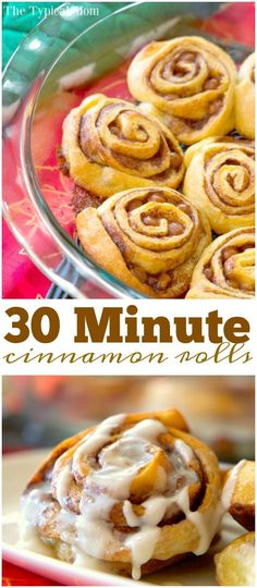 These quick cinnamon rolls are amazing! Just 30 minutes from start to finish and packed with caramel and cinnamon inside with an easy vanilla glaze. via /thetypicalmom/