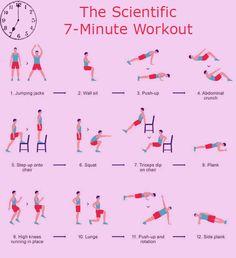 El entrenamiento de 7-Minute consta de 12 ejercicios y no requiere ningún equipo - sólo el peso corporal, una silla y una pared.