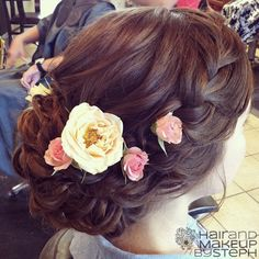 Bridal hair with flowers.