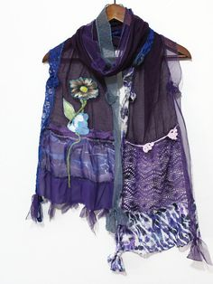 Purple cotton scarf Purple lace scarves Mothers by Nazcolleccolors