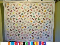 "ANTIQUE FLYING GEESE OR DELECTIBLE MOUNTAINS VINTAGE QUILT C 1890s  size 73"" 62"""