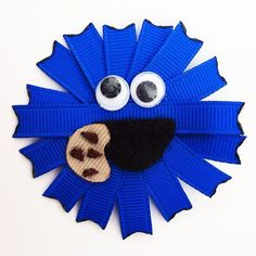 Cookie Monster Inspired Ribbon Sculpture Hair Clip.. by leilei1202