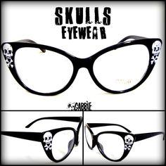 Crânes Eyewear - Vintage Retro Cat Eye lunettes Frame - Custom peint - un d'une sorte !