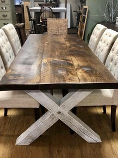 Farm Style Table x is part of Farmhouse kitchen tables All handcrafted, rough sawn New England cut lumber We use only genuine, furniture grade wood carefully selected for character and qu - Unique Dining Tables, Dinning Room Tables, Dining Table Design, Dinning Room Table Diy, Wood Dining Room Tables, Dinner Room Table, Wood Sofa Table, Pallet Dining Table, Door Table