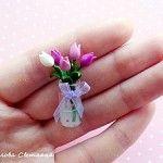 Polymer clay miniature flower vase as posted on Kolika's Blog