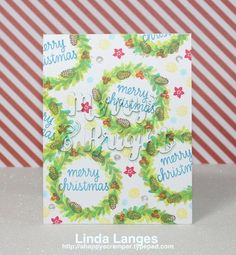 #SSSfave; Hero Arts Color Layering Wreath; Christmas card; camouflaged die cutting.