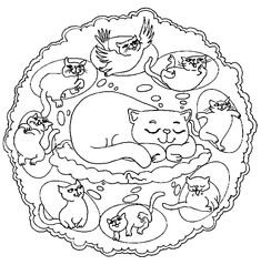 Mandalas bring relaxation and comfort to adults all over the world. Mandalas are one of our favorite things to color. Kids can color them too! We have some more simple mandalas for kids to color. Mandalas for Kids Pattern Coloring Pages, Cat Coloring Page, Mandala Coloring Pages, Animal Coloring Pages, Coloring Book Pages, Printable Coloring Pages, Coloring Pages For Kids, Mandala Animal, Cat Mandala