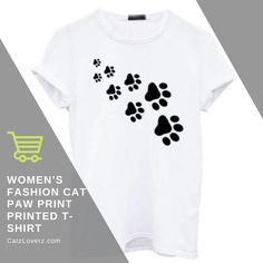 To stay as pretty as possible, you'll need this women's cat paw print t-shirt that is high on trend. This wonderful t-shirt will never let you down when it comes to being fashionable. Also, the captivating cat paw print will add a hint of texture. Featuring a printed design, this bizarre apparel is super comfortable to wear.