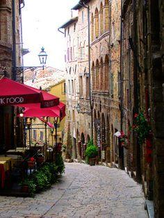 Cobblestone Street, Volterra, province of Pisa Tuscany