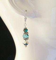"""Earrings - """"Burgundy and Blue"""" by DancingRainbows, $22.00 USD"""
