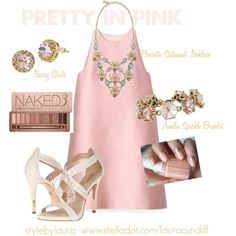 """""""Pretty in Pink"""" by stylebylaura on Polyvore   Great outfit for bridal shower or summer wedding."""