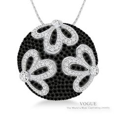 Beautiful Sterling Silver Black and White Diamond Pendant.