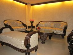 Wooden Sofa Designs Pictures in Traditional Indian Style : Wooden Sofa With…