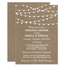 White String Lights, Rustic Burlap Wedding Shower Card