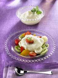 Mousse de fromage blanc au miel et salade de fruits