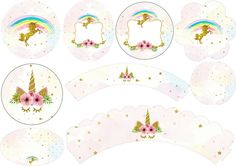 Unicorn Party: Free Printable Wrappers and Toppers for Cupcakes.