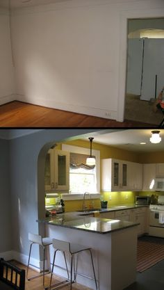 Open up wall between kitchen & dining room with archway and add peninsula.  MIGRA[TION]: explora[tion] - kitchen