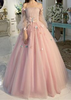 pretty dresses Off-the-shoulder wedding dress long sleeves Prom Dresses Unique Prom Dress Long Evening Dresses strapless party dress - shuiruyan Prom Dresses Long With Sleeves, Unique Prom Dresses, Formal Evening Dresses, Pretty Dresses, Beautiful Dresses, Evening Gowns With Sleeves, Elegant Dresses, Dress Formal, Dresses For Parties