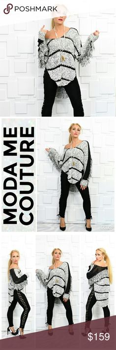 SLOANE ROUGE FRINGED SWEATER Brand New Boutique it me Price is firm Bundle to Save  This dolman yarn pullover in a fabulous cotton blend is as fun as a sweater gets—just look at all that fringe and sassy side slits! If you ask me, playful and pretty is the perfect combination!!  True to size for style SLOANE ROUGE Sweaters