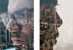 the city of Beijing paired with silhouettes of its citizens Double Exposure