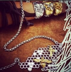 Honeycomb Bee Nest Chain and Bee and Twig Rings  www.collectbowerbird.com