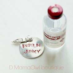 Type 1 Diabetes Insulin Junky and Syringe  Aluminum Stamped Pendant Disc