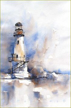 lighthouse in blueandbrown by margo Edo Hannema watercolor - lighthouse in blue and brown Watercolor Ideas - Watercolors are reportedly the art medium. Sure, painting with watercolors is demanding and takes a great deal of practice, but is not that with a Watercolor Architecture, Watercolor Landscape Paintings, Painting Art, Watercolor Artwork, Watercolor Artists, Painting Lessons, Lighthouse Painting, Beginner Painting, Easy Watercolor