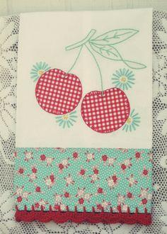sweet gingham cherries flour sack tea towel no. 2 - Thumbnail 1