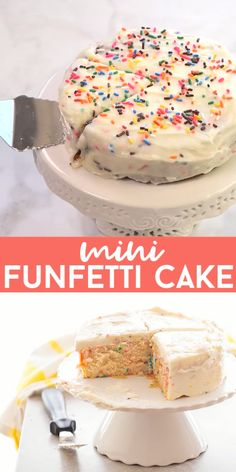 Small funfetti cake for two. This 6 inch cake. Small funfetti cake for two. This 6 inch cake is perfect for a small celebration or small party. Funfetti cake is so easy and fun to make! Mini cakes that serve two Mini Desserts, Small Desserts, Easy Vanilla Cake Recipe, Easy Cake Recipes, Dessert Recipes, Mini Cake Recipe For Two, 4 Inch Cake Recipe, Recipes For Two, Vegan Vanilla Cake