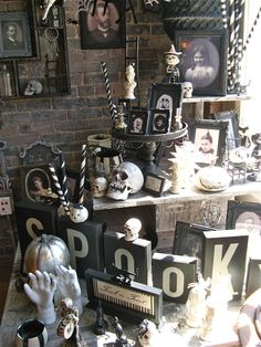 halloween display - like the black and white striped poles here and there