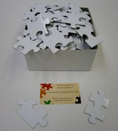 White Puzzle Pieces for Wedding Guest Book Alternative  Blank Puzzle Pieces Unique Wedding Guest Book. $25.00, via Etsy.