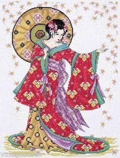 Design Works Counted #crossstitch  Red #Geisha #DIY #crafts #decor #needlework #stitching #gift #madeinusa #asian #oriental
