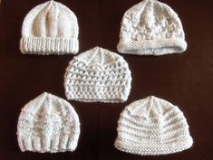 Premature Small Baby Knitting Pattern For 5 Hats by scottishcraft
