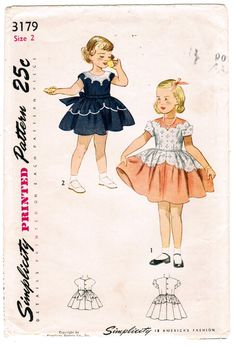Items similar to Simplicity 3179 Photocopy of Vintage Toddler Girls One Piece Dress with Scalloped Neckline and Cuffs Sewing Pattern Size 2 on Etsy Childrens Sewing Patterns, Simplicity Sewing Patterns, Vintage Sewing Patterns, Clothing Patterns, Vintage Girls Dresses, Vintage Outfits, Dress Vintage, Toddler Girl Parties, Toddler Girls