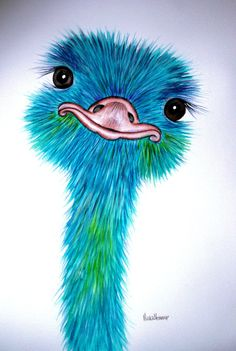 """A LARGE  original watercolour OSTRICH painting by artist Maria Moss. A3 size painting 16.5"""" x 11.5"""""""