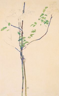 Egon Schiele, Young Trees with Support, 1912 #Egon Schiele #drawing #art