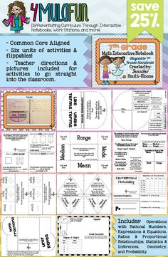 Are you looking for an Interactive Notebook for 7th Grade Math? This set of resources not only contains everything you need to cover 7th grade skills but also provides teaching tips, full color photos and more! Aligned to Common Core Standards and Texas Essential Knowledge and Skills.