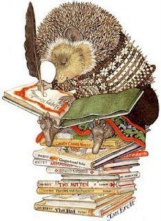 Hedgehog and Books illustration Jan Brett one of my favorite author/illustrator of picture books Art And Illustration, Book Illustrations, Hedgehog Illustration, I Love Books, Good Books, Jan Brett, Children's Literature, Summer Fun, Childrens Books