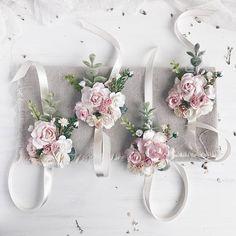 Blush pink Flower wrist corsage rose quartz Bridal bracelet