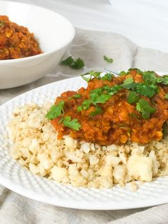 """Red lentil curry with cauliflower """"rice"""". A delicious Indian-spiced dish with low-carb cauliflower instead of rice. GF and vegan."""
