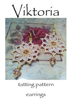 PDF Tatting Pattern Viktoria orecchini Download di Emeliebeads
