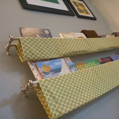 Inspired Whims: Kids Room Organization + Storage Solutions. Love these fabric hanging book shelves, I am making them this week for the boys' room!