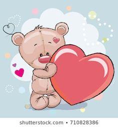 Imagens, fotos stock e vetores similares de Valentine card Cute Cartoon Teddy Bear with flowers on a heart background - 364037909