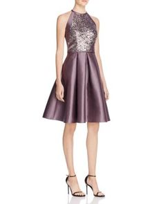 Carmen Marc Valvo Sequin Fit and Flare Dress | Bloomingdale's