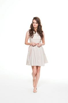 Mini dress in full skirt line with lace details