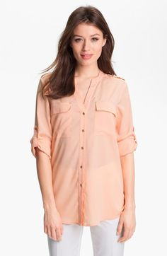 Calvin Klein Roll Sleeve Blouse available at $46.56